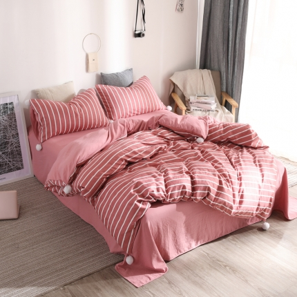 优悦 西西里系列水洗棉四件套床笠款 西西里红白条