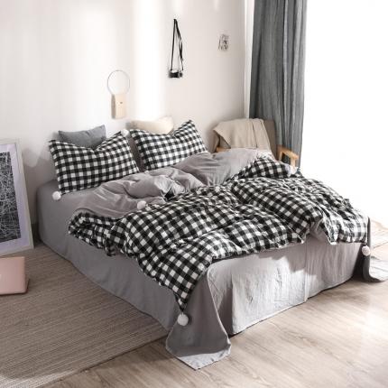 优悦 西西里系列水洗棉四件套床笠款 西西里黑白格