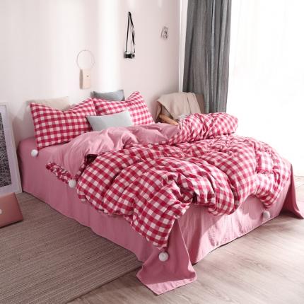 优悦 西西里系列水洗棉四件套床笠款 西西里红白格