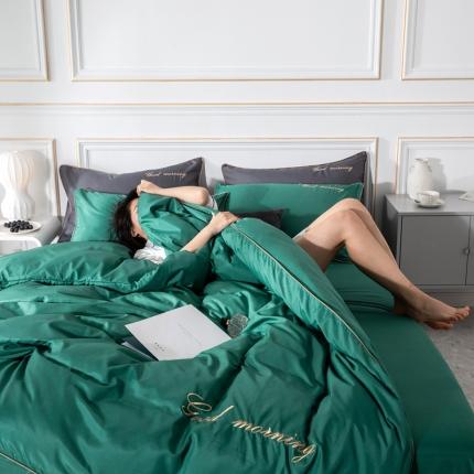 优悦家纺 早安水洗真丝四件套 早安-森绿