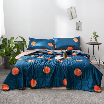 优悦家纺 水洗真丝印花夏被四件套 橙光-孔雀蓝