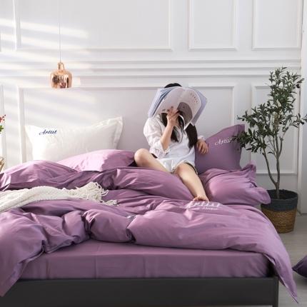 小蜜蜂2019新款纯色60长绒棉刺绣四件套 雅典娜(女神紫)