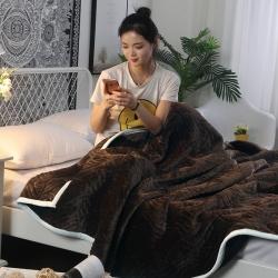 凌依家纺 珊瑚绒毛毯 咖啡