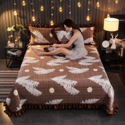 情書 2019新款加厚保暖水晶絨夾棉床蓋寶寶絨單床蓋 羽魅
