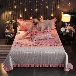 情書 新款加厚保暖水晶絨夾棉床蓋寶寶絨單床蓋 蒲公英的約定