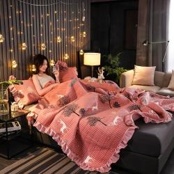 (总)情书 2019新款加厚保暖水晶绒夹棉床盖宝宝绒单床盖