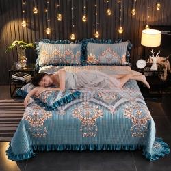 (總)情書 2019新款加厚保暖水晶絨夾棉床蓋寶寶絨單床蓋