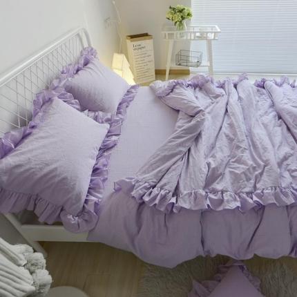 云思蓝家纺 色织水洗棉简约花边四件套 初棉 香芋紫