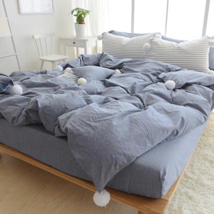 云思蓝家纺 色织水洗棉毛球款四件套 大毛球(圆角床单)牛仔蓝