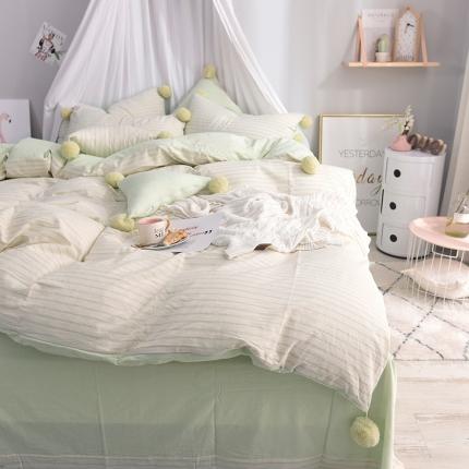 云思蓝家纺  新款水洗棉大毛球四件套床单款条纹大毛球-浅绿