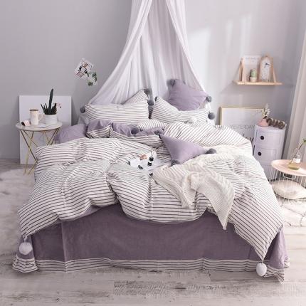 云思蓝家纺  新款水洗棉大毛球四件套条纹大毛球-紫色