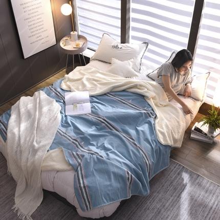 鼎飞家纺 2018新款羊羔绒双层毛毯 时尚条纹-蓝