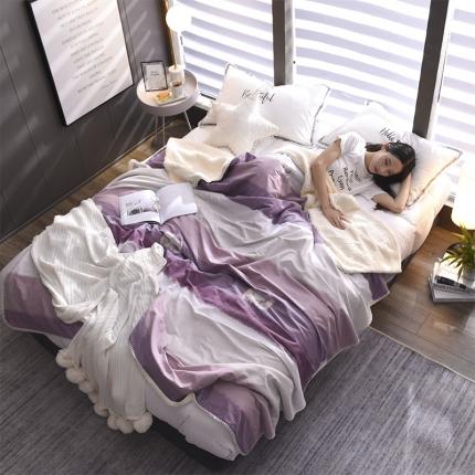 鼎飞家纺 2018新款羊羔绒双层毛毯 时尚条纹-紫