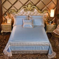 恒爱家纺2019新款可机洗床单款冰藤席三件套蝶恋回忆-条纹蓝