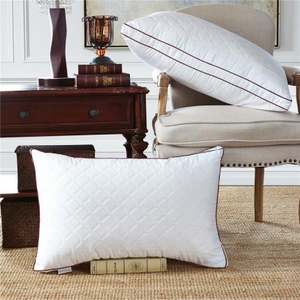 兴煌枕业 全棉绗缝立体羽丝绒枕 欧美风情
