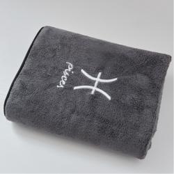 樸爾毛巾浴巾家用三件套比成人全棉大浴巾男女裹巾不掉毛雙魚座灰
