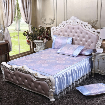 罗意席业 2019新款欧式床裙款 欧式盛世巴黎-蓝