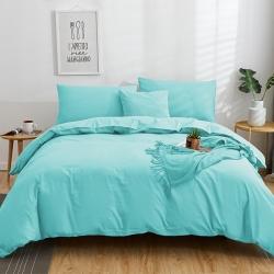 欣喜來 2019新款40s簡約全棉純色單品被套 水藍