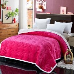 法兰家纺法兰绒加厚毛毯繁花被毯毛毯繁花被毯毛毯 玫红色