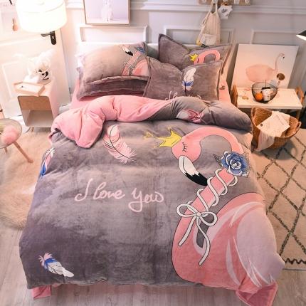 柒月家居 柒月大版卡通法莱绒四件套 迷恋