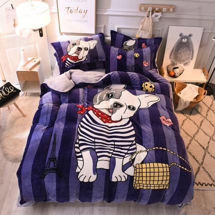 柒月家居 柒月大版卡通法莱绒四件套 时尚法斗