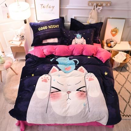 柒月家居 柒月大版卡通法莱绒四件套 星空猫