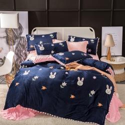 (总)珊瑚绒四件套水晶绒法兰绒加厚双面绒毛巾绣宝宝绒冬季被套