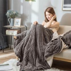 印季家纺 2019高密超柔雪尼尔羊羔绒毛毯 深灰