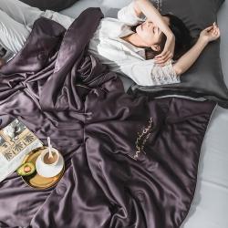 麗笙家紡 60S蘭精天絲素色繡花夏被 典雅紫