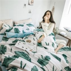 (总)住趣家居 2018新品网红款纯棉拼绒系列床笠款四件套