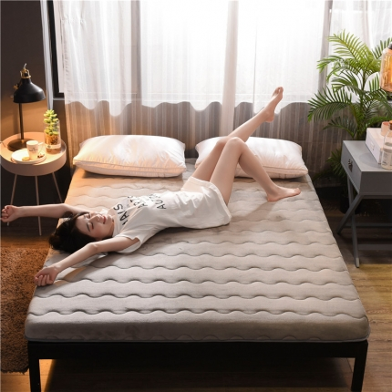 (总)钻爱床垫 加厚法莱绒床垫冬夏两用 法莱绒灰