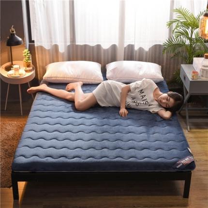 (总)钻爱床垫 加厚法莱绒床垫冬夏两用法莱绒蓝白
