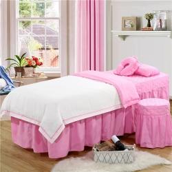 乐逸家纺 美容院纯色-压线款美容床罩按摩床 白+粉