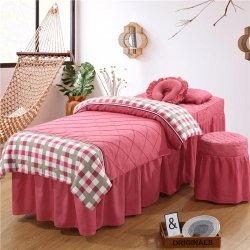 乐逸家纺 美容院英伦格子水洗棉美容床罩按摩床 格豆沙+印