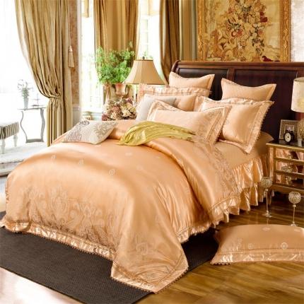小时代家纺 提花加棉床裙床罩四件套 安娜贝尔