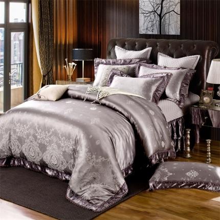 小时代家纺 提花加棉床裙床罩四件套 布鲁斯