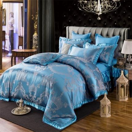 小时代家纺 提花加棉床裙床罩四件套 塞维斯