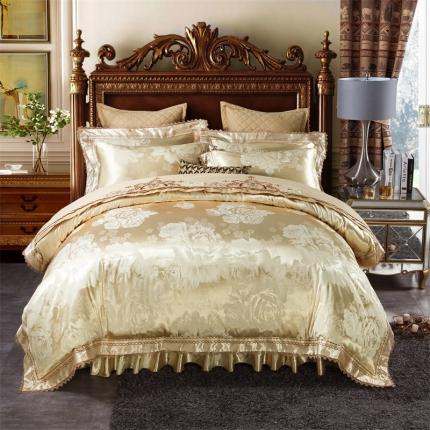 小时代 欧式刺绣花夹棉床笠式床罩床裙四件套 罗密欧—香槟驼