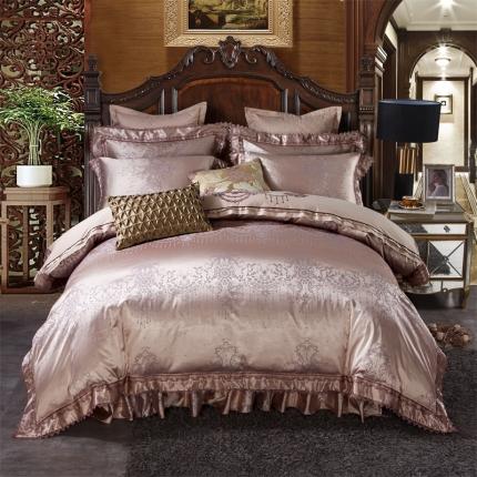 小时代 欧式刺绣花夹棉床笠式床罩床裙四件套 美丽传说