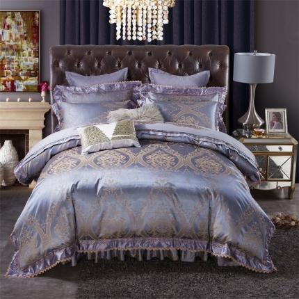 小时代 欧式刺绣花夹棉床笠式床罩床裙四件套 摩登天空
