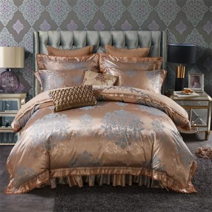 小时代 欧式刺绣花夹棉床笠式床罩床裙四件套 塞浦路斯