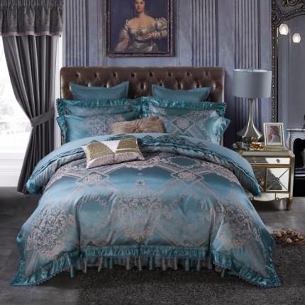 小时代 欧式刺绣花夹棉床笠式床罩床裙四件套 伊利亚