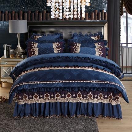 小时代家纺2018新款水晶绒压花四件套床裙款豪庭盛世-宝石蓝