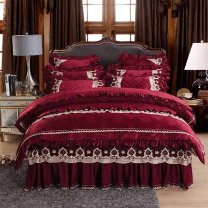 小时代家纺2018新款水晶绒压花四件套床裙款豪庭盛世-酒红