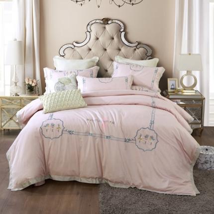 小时代100支澳棉重工艺刺绣花纹四件套床裙款卡洛娜之歌温馨玉