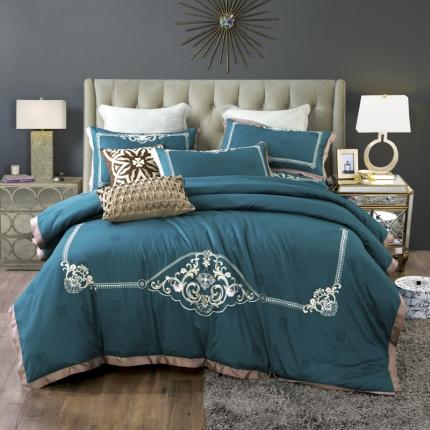 小时代100支澳棉重工艺刺绣欧式花纹四件套床裙款尼斯梦境宝绿