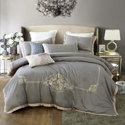小时代100支澳棉重工艺刺绣花纹四件套床裙款尼斯梦境都市灰