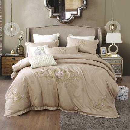 小时代100支澳棉重工艺刺绣花纹四件套床裙款维特蕾莎卡其
