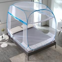 三贏家紡 活面一體式大頂免安裝蚊帳 升級 葉羽 藍
