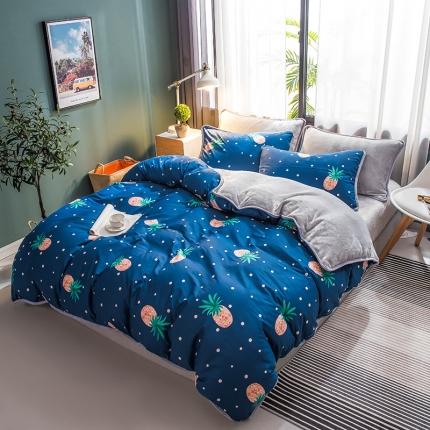 宜代光年 2018棉加法莱绒圆网床单款四件套 菠萝